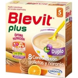 BLEVIT PLUS DUPLO 8 CEREALES CON GALLETA Y NARANJA 600 GR